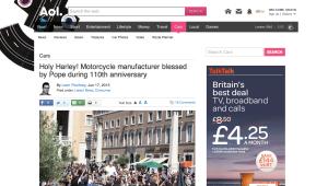Harley-Davidson piece for AOL Cars UK