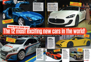 Weekly motoring spread for ZOO Magazine